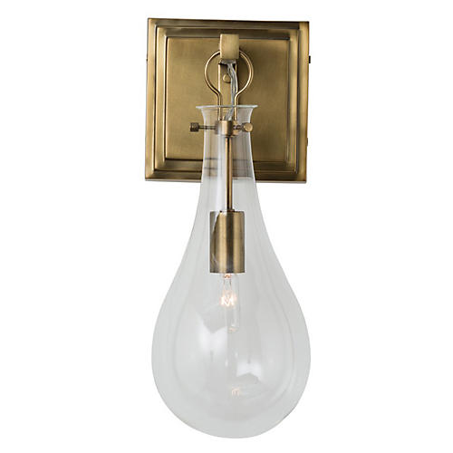 Sabine Sconce, Antiqued Brass/Clear