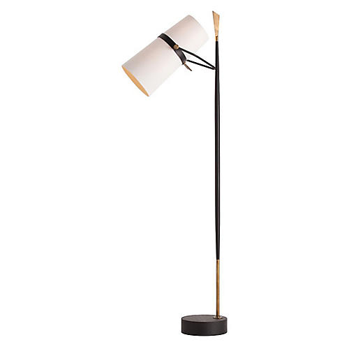 Yasmin Floor Lamp, Black/Brass
