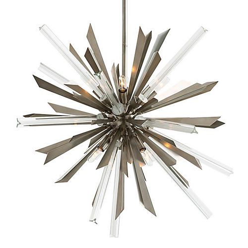 Waldorf Small Chandelier, Silver/Clear