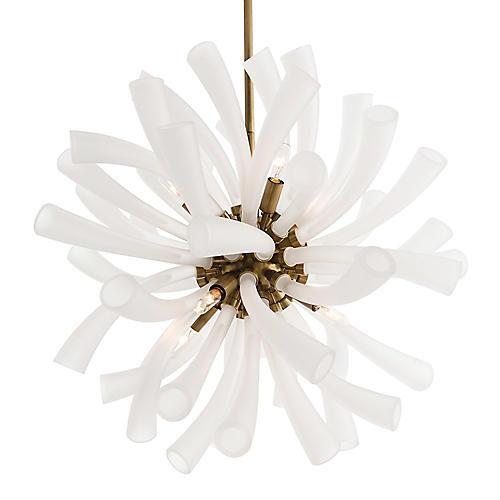 Emmy Chandelier, Brass/Frosted