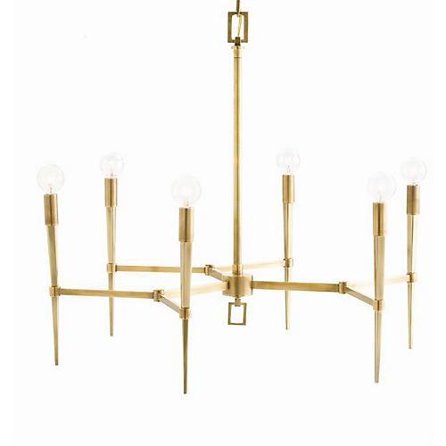 Auburn Chandelier, Antiqued Brass