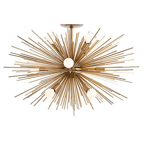 Zanadoo Fixed Chandelier, Antiqued Brass