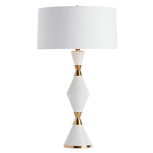 Adair Table Lamp, White/Gold