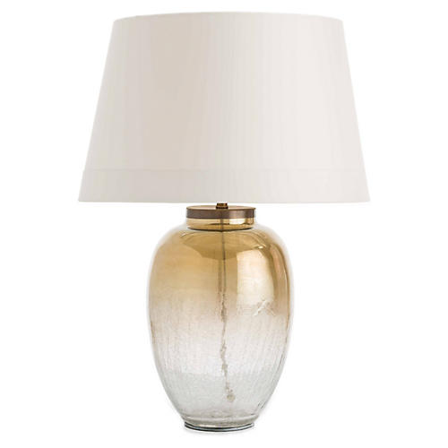 Diane Table Lamp, Amber/Crackle