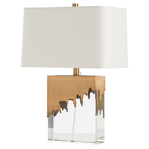 Frye Crystal Table Lamp, Clear/Brass