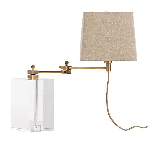 Davenport Crystal Desk Lamp, Clear/Brass