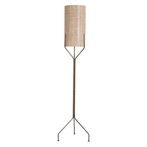 Ellis Floor Lamp, Brass/Natural