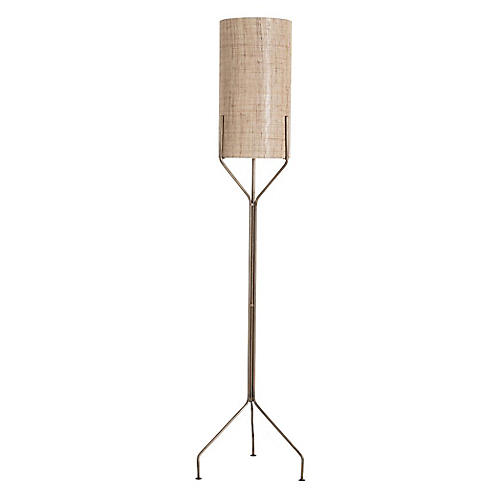 Ellis Floor Lamp, Brass/Natural