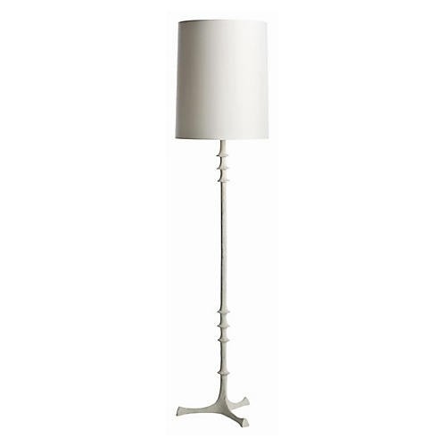 Nathan Floor Lamp, White Gesso
