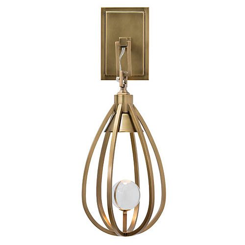 Athena Crystal Sconce, Brass/Clear
