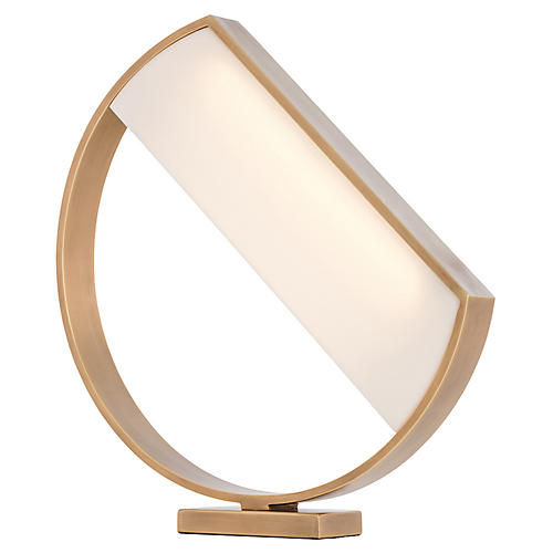 Luna Table Lamp, Warm Brass/Opal