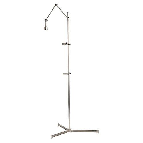 Aja Easel Floor Lamp, Antiqued Silver