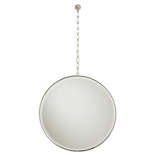 Fletcher Oversize Wall Mirror, Polished Nickel