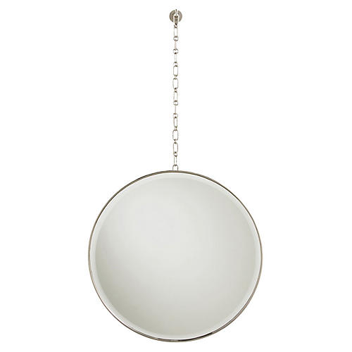 Fletcher Oversize Wall Mirror, Polished Nickel