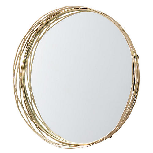 Rowsell Wall Mirror, Matte Brass