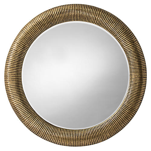 Elton Wall Mirror, Antiqued Brass