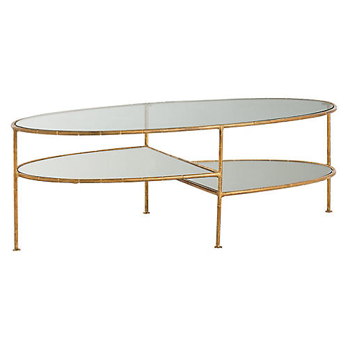 Emilia Coffee Table, Gold Leaf
