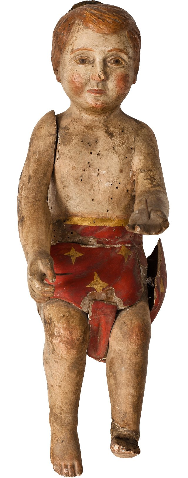 Antique Wooden Christ Child Statue