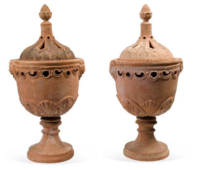 Antique Italian Terracotta Urns, Pair