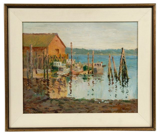 Dock at Anacottes, Oil Painting