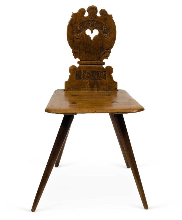 Antique Hand-Carved Walnut Chair