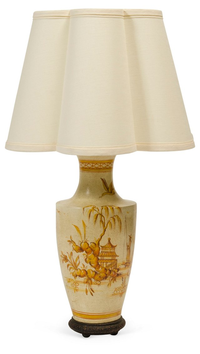 Painted Lamp Base w/ Scalloped Shade