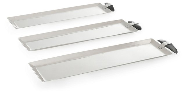 Asst. of 3 Llao Llao Trays, Silver/Black