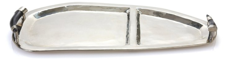 """17"""" Hors d'Oeuvres Tray, Silver/Black"""