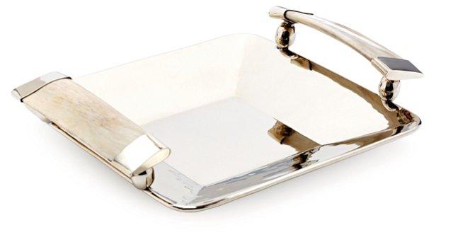 "9"" Cachi Tray w/ Horn, Silver/Cream"