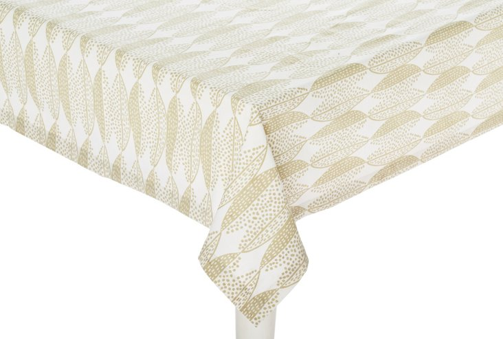 Modern Foliage Tablecloth, Oat