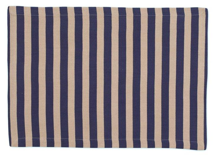 S/4 Striped Place Mats, Blue
