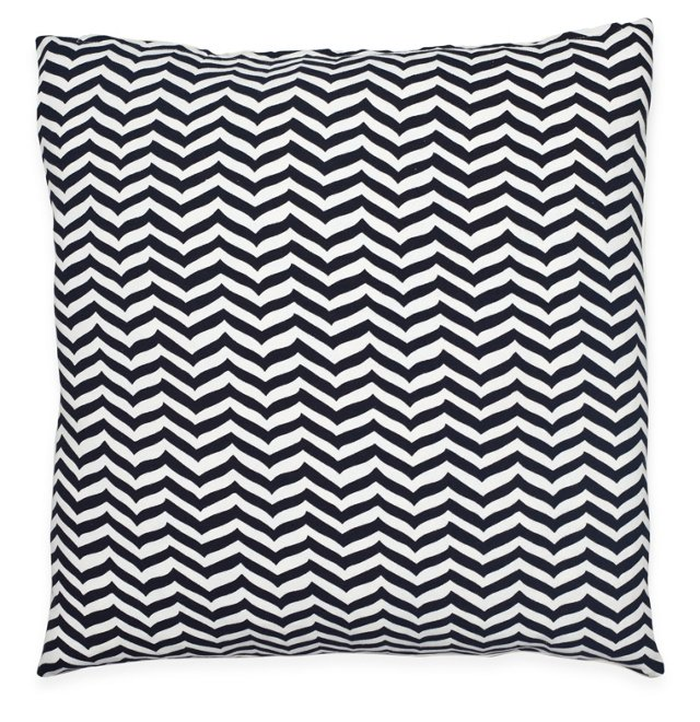 Chevron 20x20 Cotton Pillow, Black/White