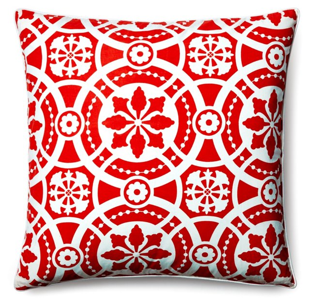 Medallion 20x20 Cotton Pillow, Red