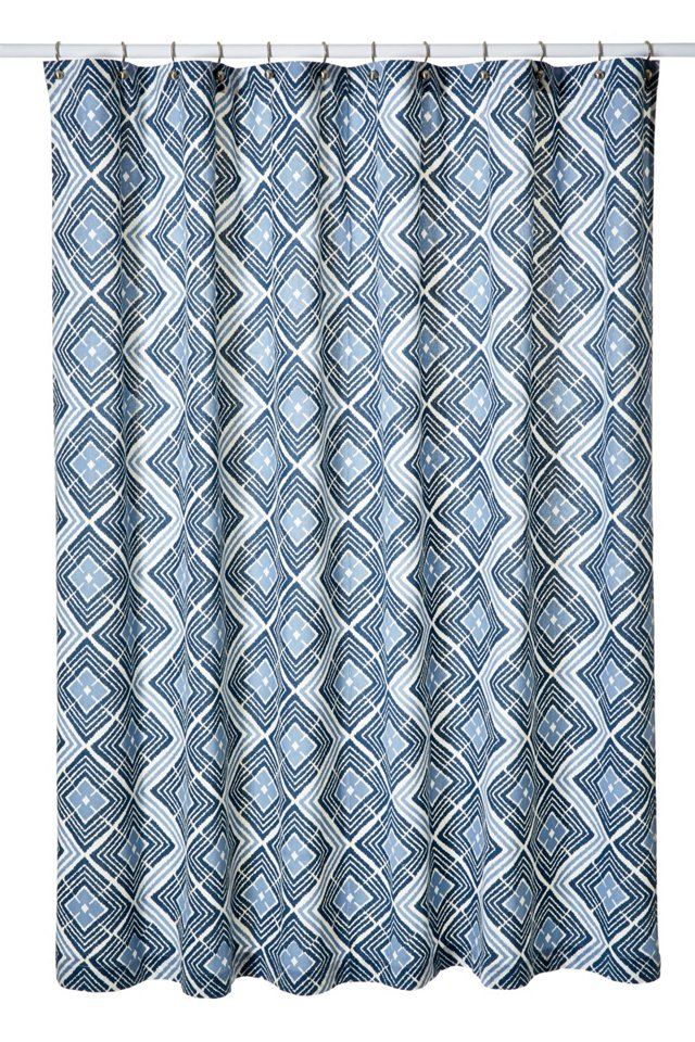 Ikat Diamond Shower Curtain, Cerulean