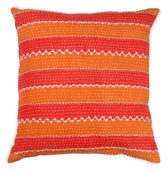 Striped 20x20 Cotton Pillow, Orange/Red