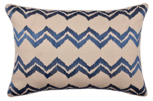 Chevron 14x22 Embroidered Pillow, Indigo