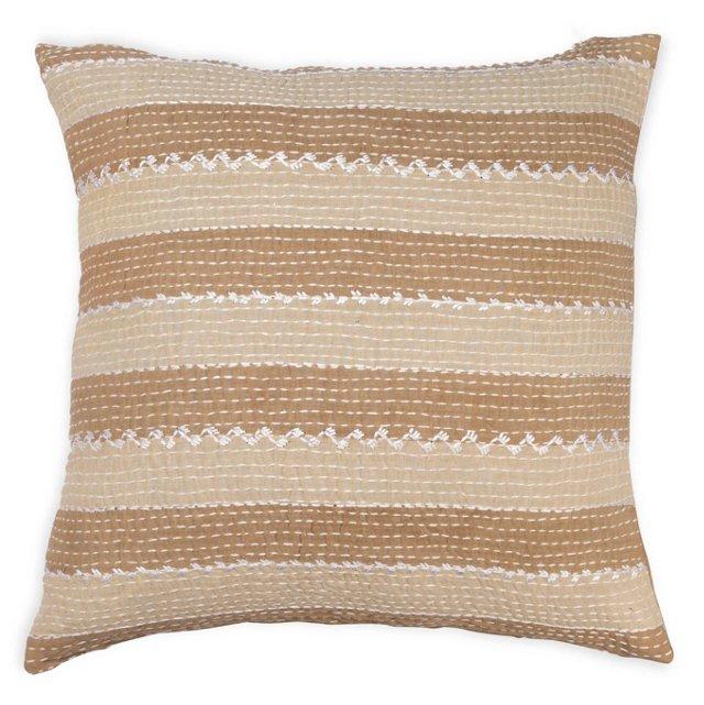 Striped 20x20 Cotton Pillow, Taupe/Tan