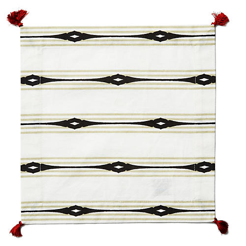 S/4 Keyhole Stripe Cocktail Napkins