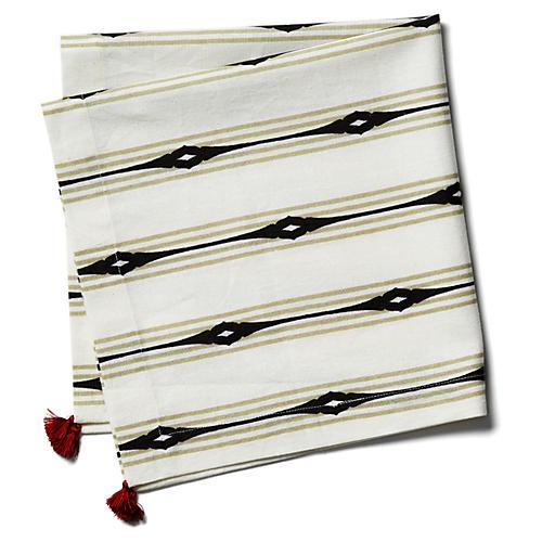 S/4 Keyhole Stripe Dinner Napkins