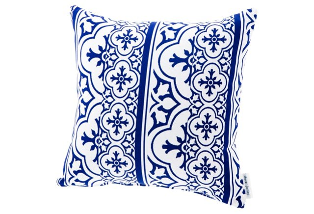 Patterned Throw Pillow, Blue