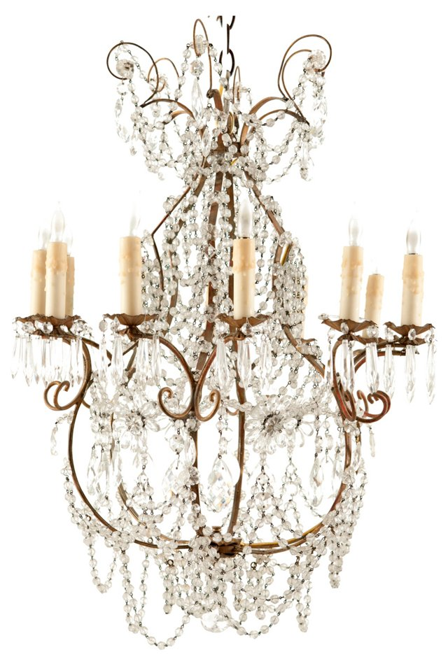 Antique Italian 12-Light Chandelier