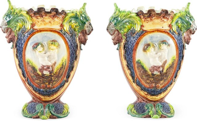 French Majolica Vases, Pair
