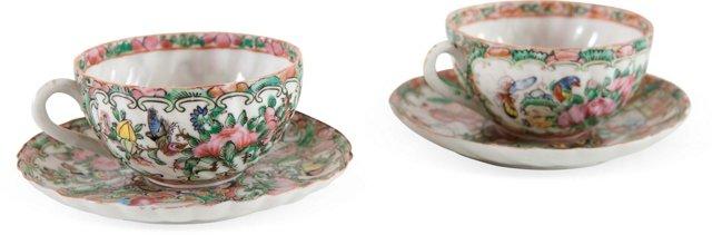 Rose Medallion Porcelain Tea Cups, Pair