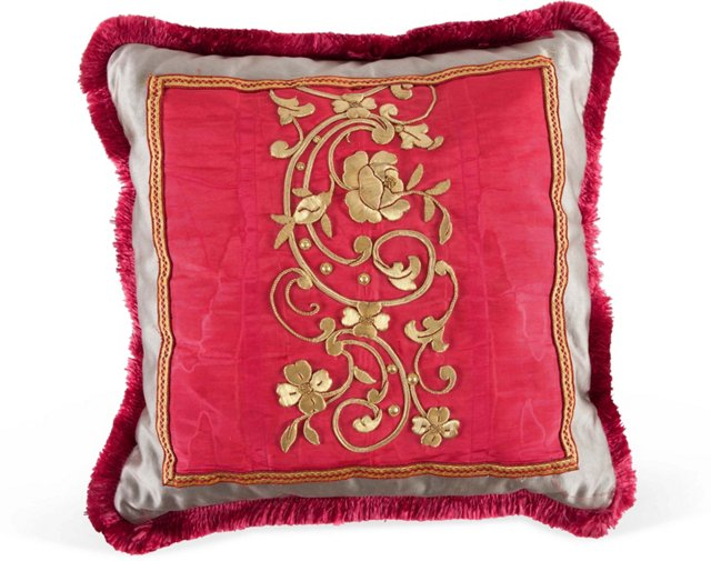Embroidered Antique Textile Pillow II