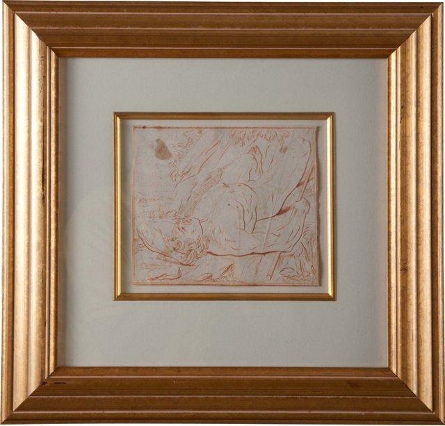 Framed Hercules Sanguine Drawing I