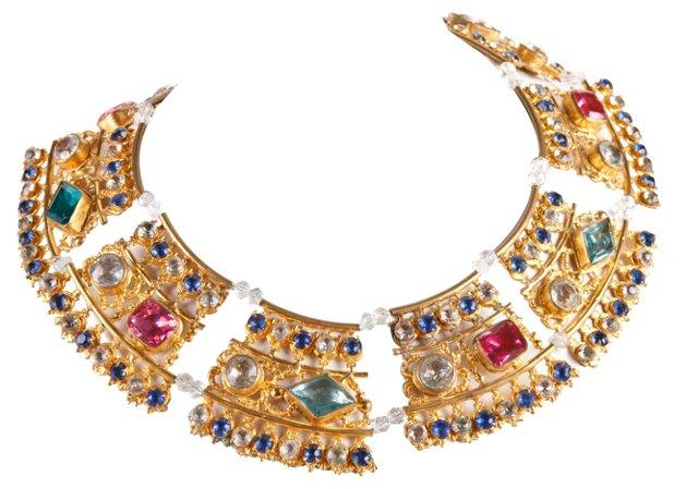 Antique Opera Necklace w/ Colored Stones