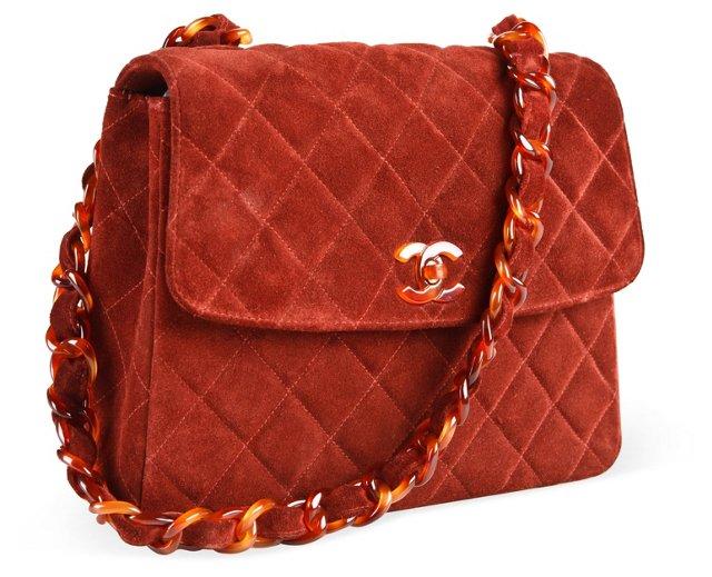 Chanel Rust Suede Chain Handbag
