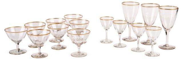 Gold-Rimmed Glasses, 15 Pcs