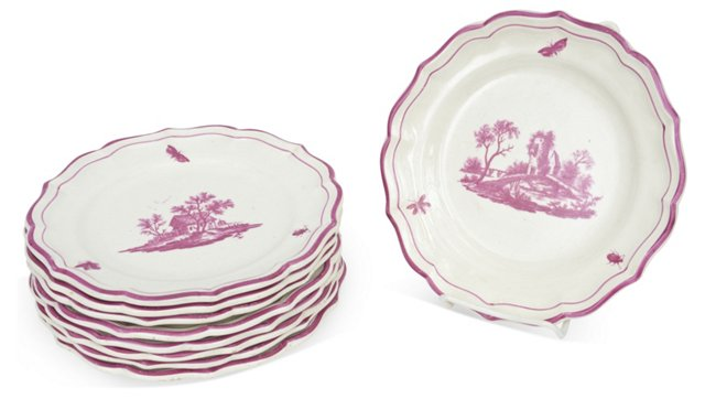 Gien Salad Plates, Set of 9