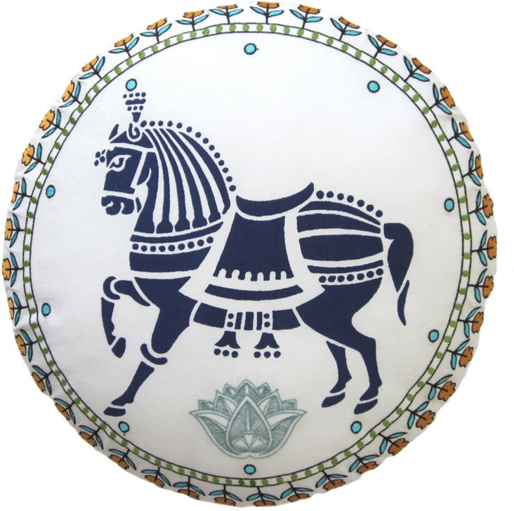 Chetak Embroidered Round Pillow, Blue